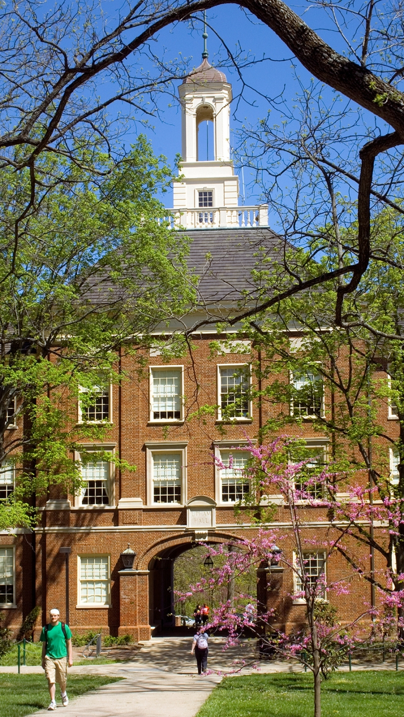 A spring view of Upham Hall on the Oxford, Ohio, campus of Miami University