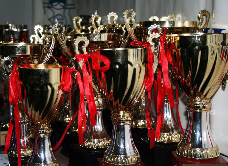 Gold trophies with red ribbons tied to their handles are lined up awaiting distribution at an awards ceremony.