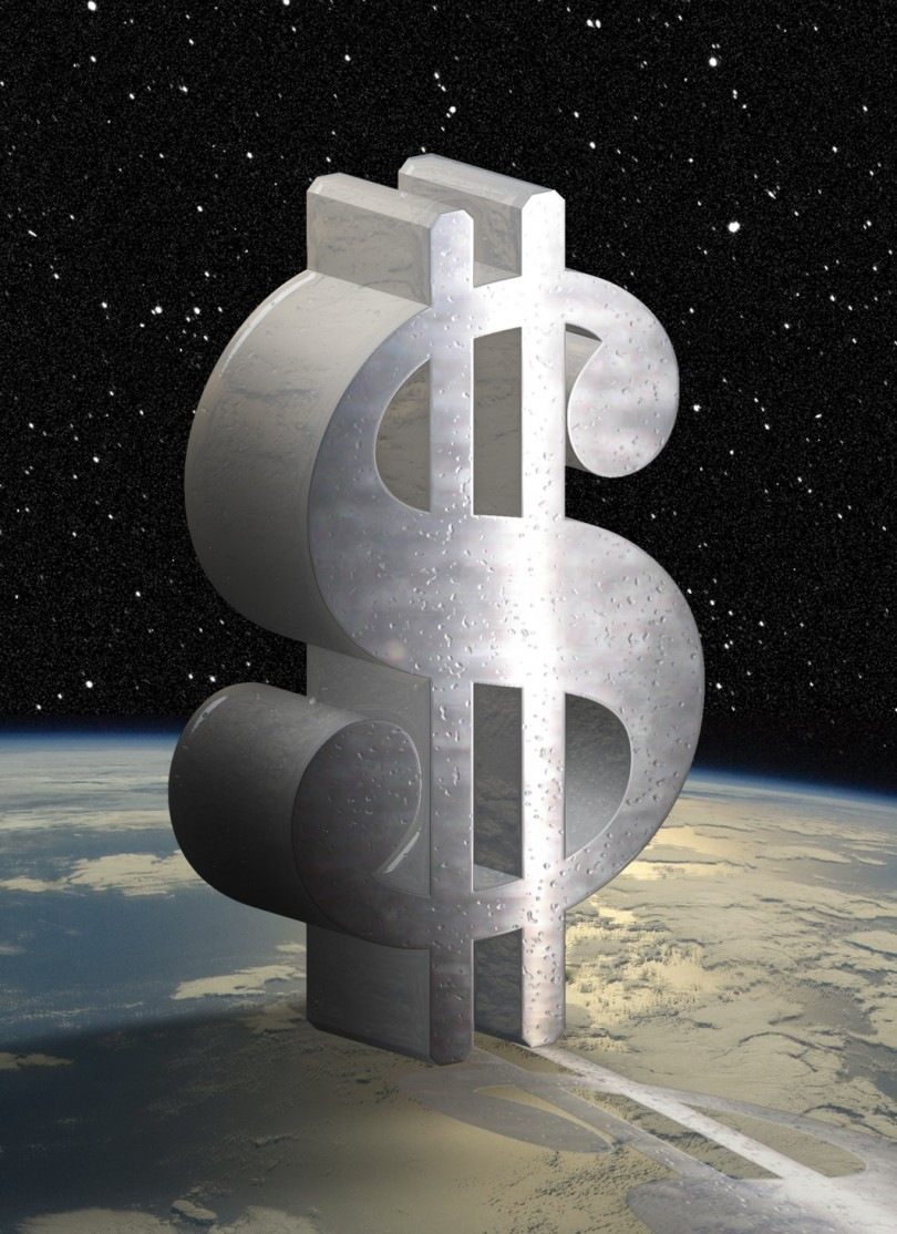 3D dollar sign in space orbiting over earth horizon.
