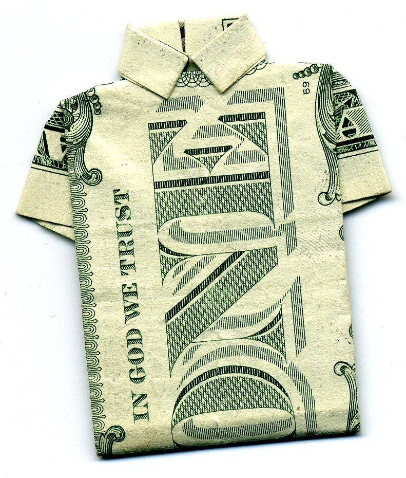 Origami version of a men's collared shirt, made with a $1 bill.
