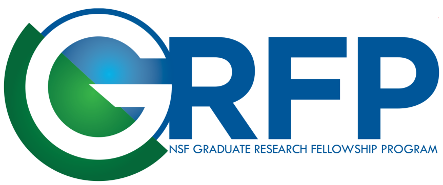 "Blue, green, and white GRFP logo. The letters ""GRFP"" are the focus of the logo. Written smaller, underneath ""GRFP"" are the words ""NSF Graduate Research Fellowship Program."""