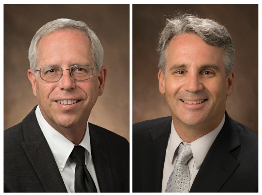 Two side-by-side head-and-shoulders portraits of men in jackets and ties.