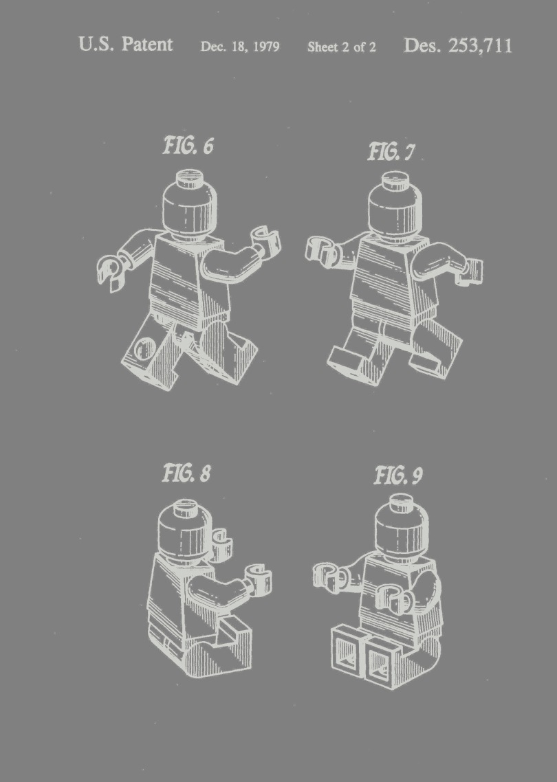 "Four schematics of a Lego figure of a man appear in white on a grey background. The figures are labeled Fig. 6 (back of the Lego figure, with arms and legs extended as though the figure were walking); Fig. 7 (front of the figure in the same walking-type pose as Fig. 6); Fig. 8 (back of figure in sitting position, with arms and legs extended straight out from the front of the figure); and Fig. 9 (front of figure in same pose as Fig. 8). Written at the top is ""U.S. Patent Dec 18 1979 Sheet 2 of 2 Des. 253,711."