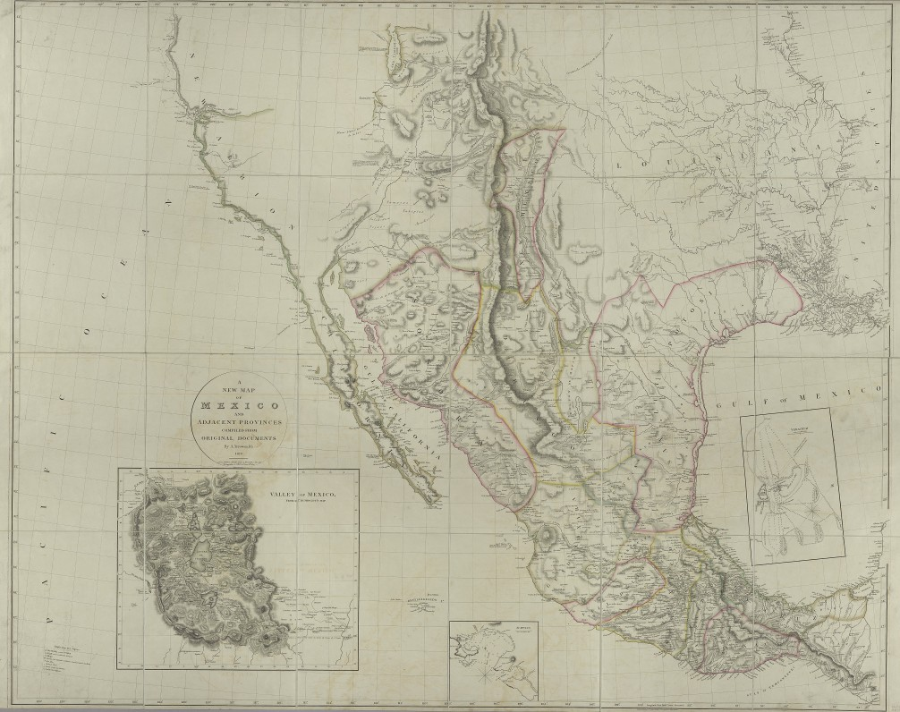 "An engraved, colored map, dissected and mounted on linen. Map is of Mexico and California, showing Mexican boundary of 1810 to the Mermento River in Louisiana. Insert in lower left shows the Valley of Mexico, from Humboldt map. Insert in center shows Acapulco. Insert in lower right shows Veracruz. ""Engraved by E. Jones"" is inscribed in the bottom of the title circle."