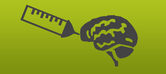 Dark grey line drawing on a green background depicts a brain being injected by a syringe.