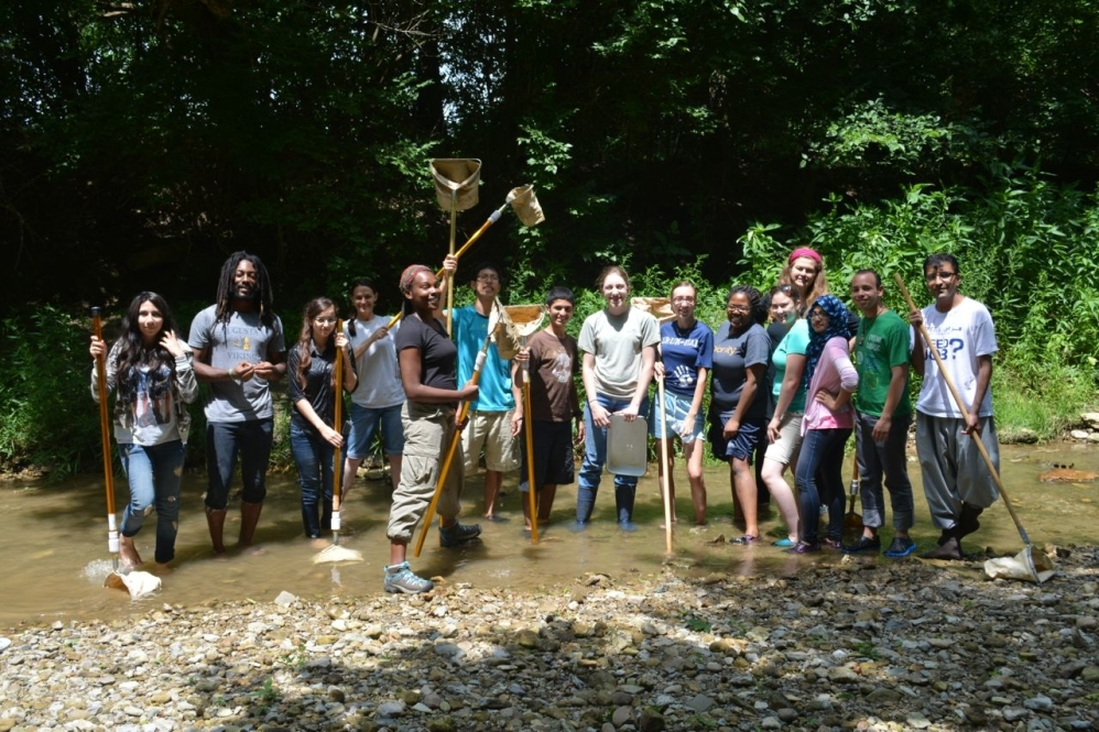 Fifteen students stand in a line in a creek bed. Some students hold long-handled nets or other sample collection tools. The water in the creek is up to their ankles. A gravel creekbank is in the foregrounds, and green vegetation and trees are visible in the background.