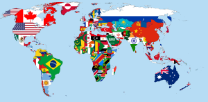A map of the world in which each country is represented by its flag. The outlines of each country are drawn on the map, with the flag being modified to fit within those borders.