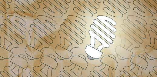Line drawings of compact fluorescent lightbulbs on brown paper. The lightbulbs are arranged at an angle to the bottom of the frame, and they are arranged in rows. In each row, the orientation of the lightbulbs alternates, so that the part that lights up extends toward the top of the frame in one row, and toward the bottom in the next. One bulb in the center is colored white, so that it appears to be lit up.