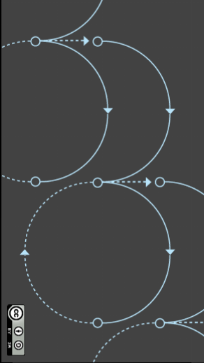 An illustration of recursive cycles. Blue lines -- some solid, some dotted -- form circles on a charcoal grey background. There are arrows and open circles at intervals along the lines. At the top of each circle, a line extends beyond the circle to create a new half circle that connects to the next full circle.
