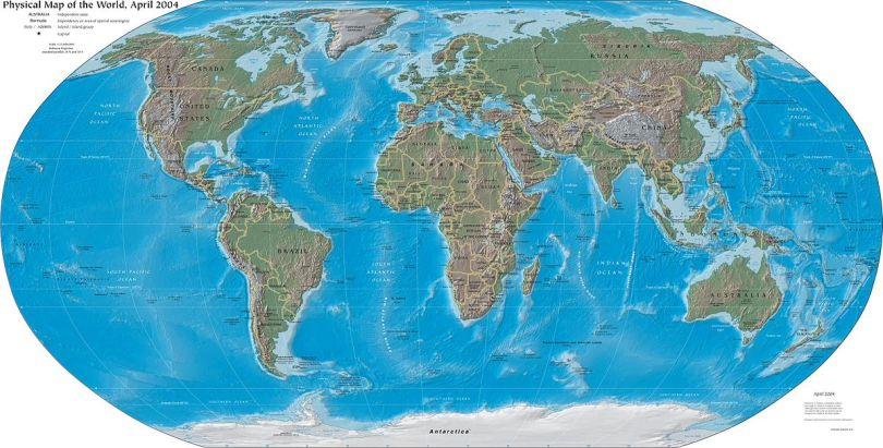 Illustration of a physical map of the world. The map is dated April 2004.