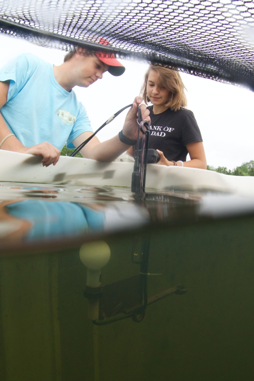 Two student researchers hold a piece of scientific equipment partially submerged in a large pool of water at Miami Univesity's Ecology Research Center. The part of the equipment that is underwater can be seen in the bottom of the frame. At the top of the frame, a net that covers the pool is propped up so that the researchers can access the pool.