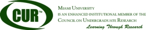 CUR logo with text announcing Miami University's Enhanced Institutional Membership. Text: CUR. Miami University is an enhanced institutional member of the Council on Undergraduate Research. Learning Through Research.