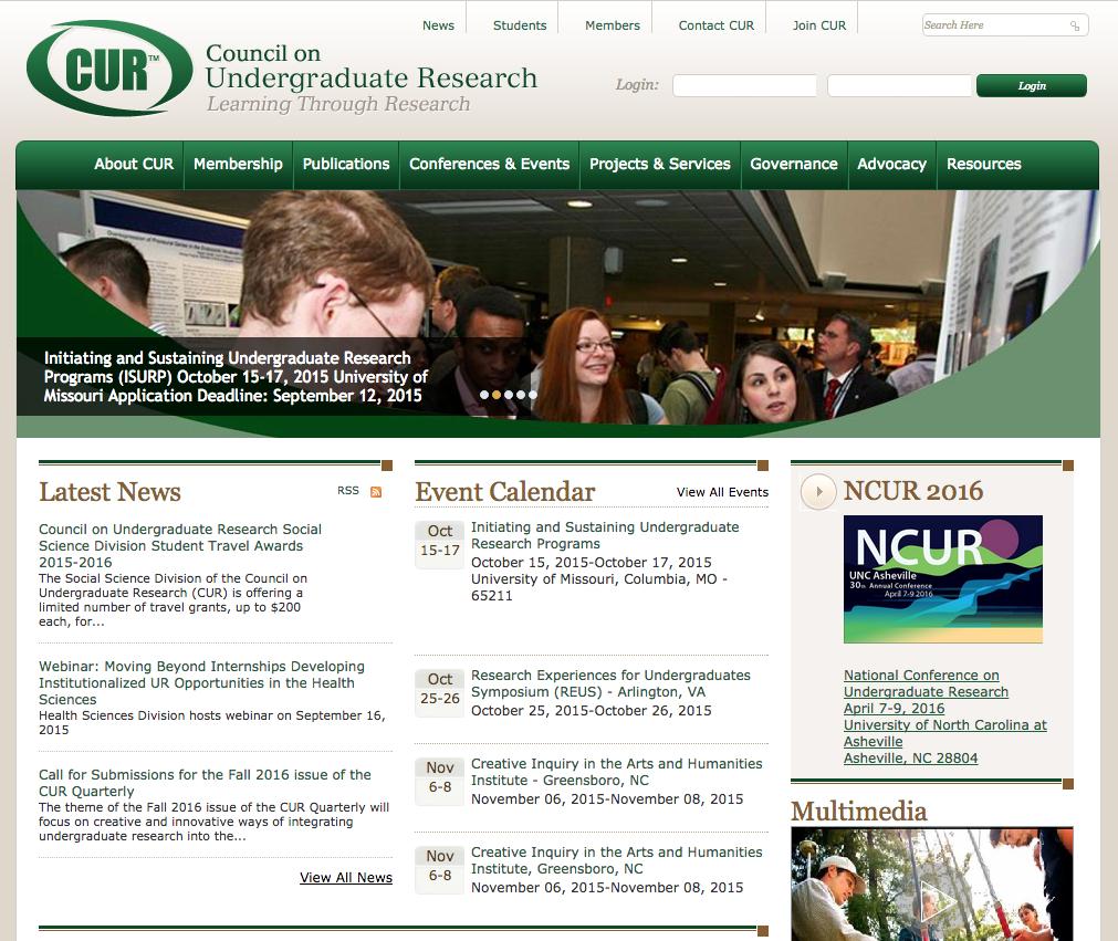Screen shot of CUR website
