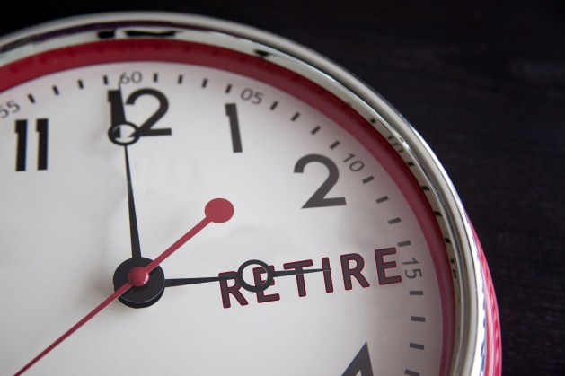 "A clock, with the word ""RETIRE"" in place of the number 3. The small hand is on ""RETIRE"" and the big hand is on 12, indicating it is time to retire."