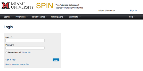 Screen shot of the SPIN login page.