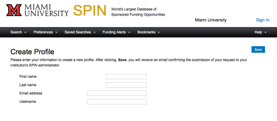 Screen shot of the SPIN Create Profile page.