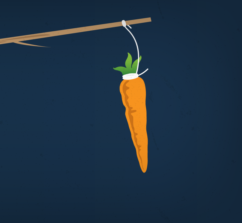 A carrot dangles from a long stick.