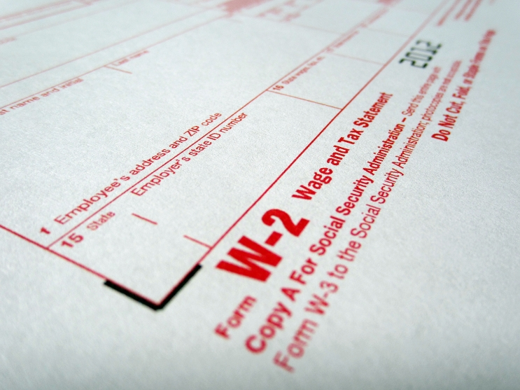 A blank IRS W-2 Wage and Tax Statement form.