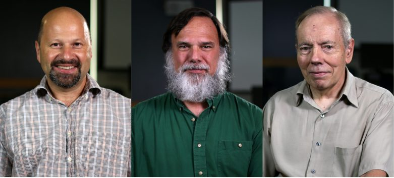 Head-and-shoulders portraits of Jens Mueller, Greg Reese, and Jon Patton