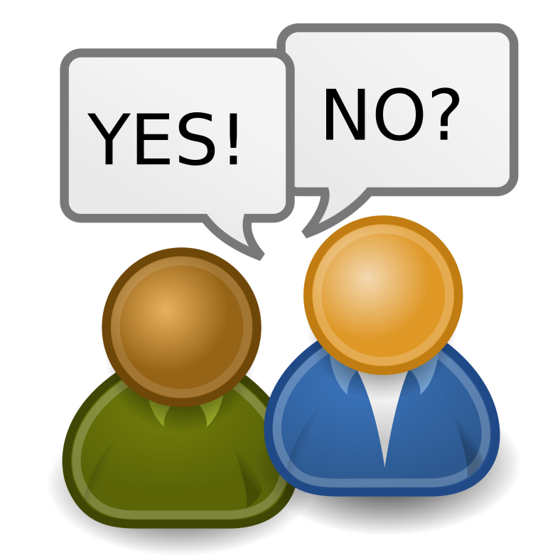 A stylized representation of two people, one of whom has a speech bubble with the word YES! and the other of whom has a speech bubble that says NO?
