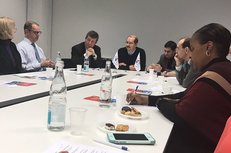 SEE participants engage in a roundtable discussion at the Moscow School of Social and Economic Sciences.