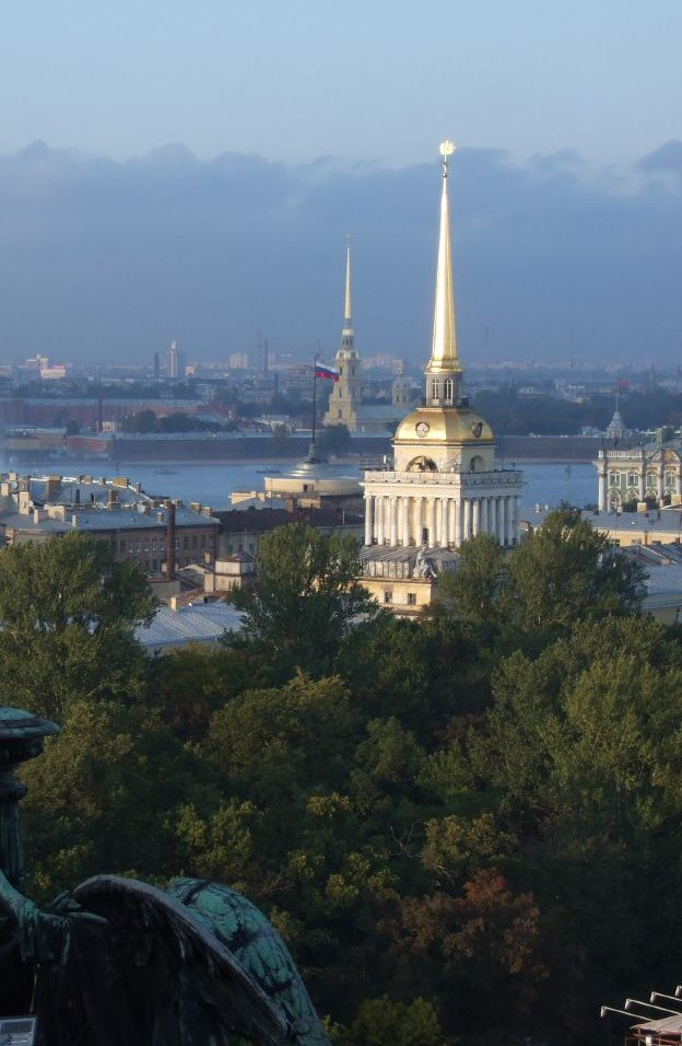 View of St. Petersburg, Russia, as seen from the colonnade of St. Isaac's Cathedral.