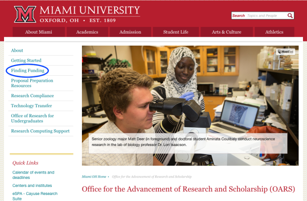 Screenshot of OARS homepage, with Finding Funding circled in the lefthand navigation.