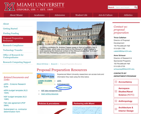 Screenshot of Proposal Preparation Resources webpage, with Budget resources link circled.