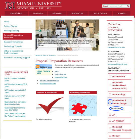Screenshot of Proposal Preparation Resources webpage, with + sign next to Architecture & Interior Design circled and the name of the OARS consultant for that department circled.