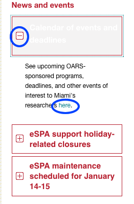 Screenshot of News and events widget, with + next to Calendar of events and deadlines circled and the word here in the expanded text circled.