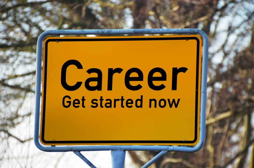 "Road sign says, ""Career Get started now"""