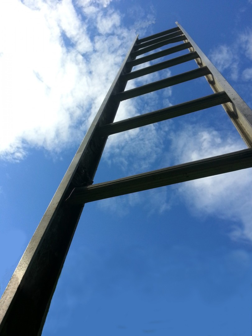 A ladder reaches into the sky.