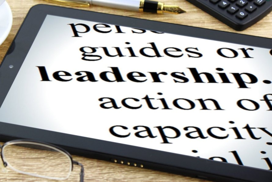 "An iPad screen with various words displayed. The word ""leadership"" stands out. Other words are ""guides or,"" ""action of,"" and ""capacity."""