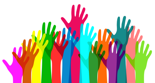 Illustration of hands of various colors and sizes raised as though volunteering.