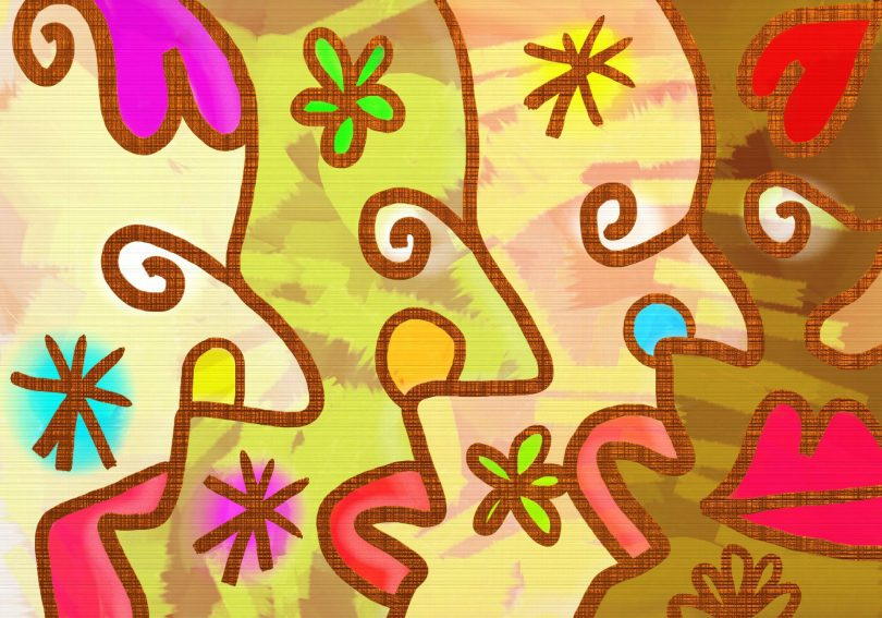 Abstract illustration of four faces, showing diversity in colors, features, and so on.