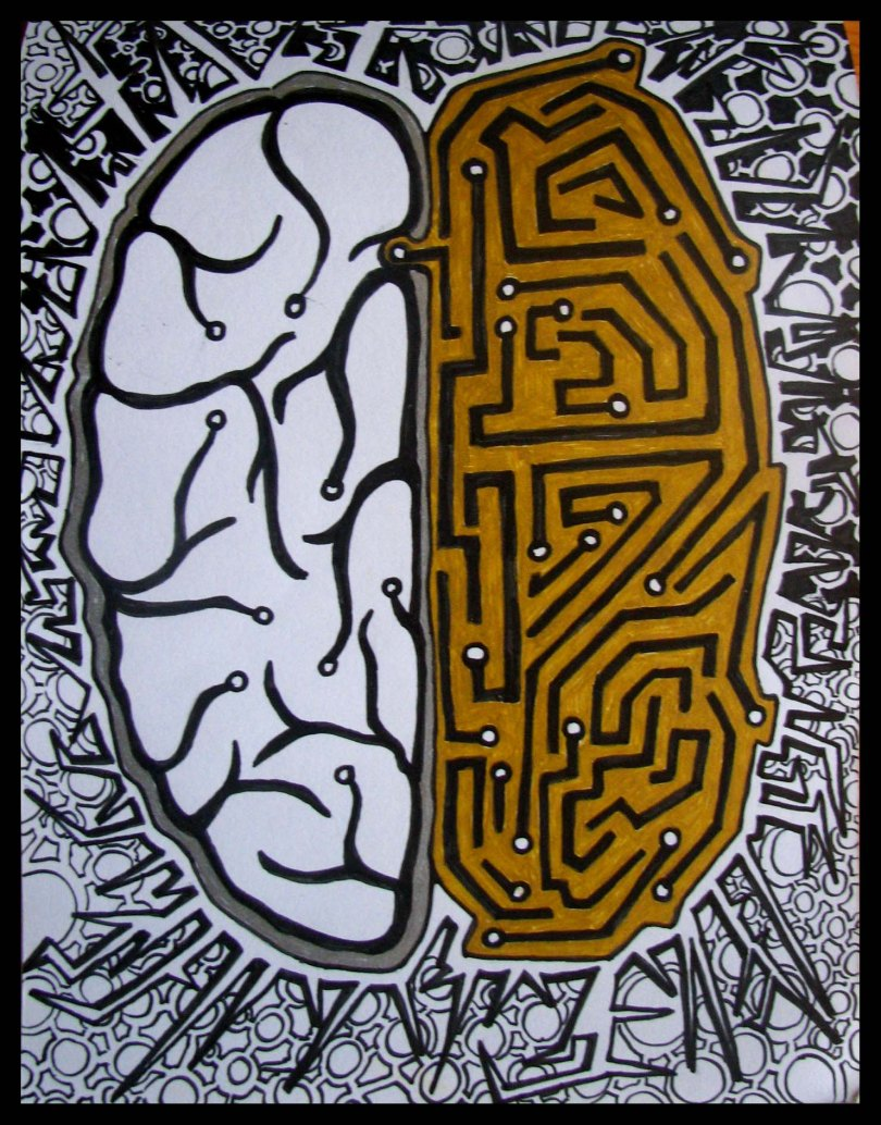 "Illustration shows left half of brain with ""normal"" connections and right half of brain as circuit board."