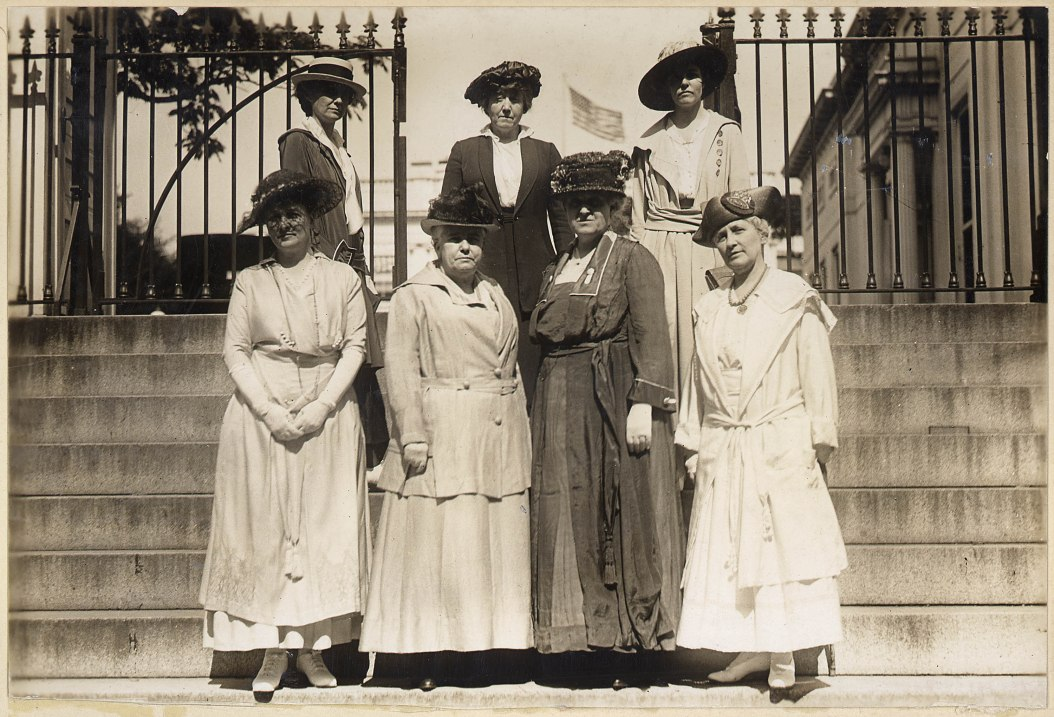 Helen Hamilton Gardener is pictured with fellow officers of the National American Woman Suffrage Association on the steps leading to the executive offices of the White House, circa 1917.