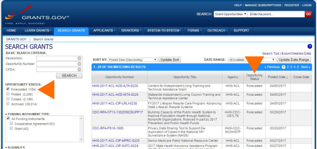 """Screenshot of Grants.gov search. Arrows point out the """"Opportunity Status"""" filter, where """"Forecasted"""" is selected and the """"Opportunity Status"""" column in the results table."""
