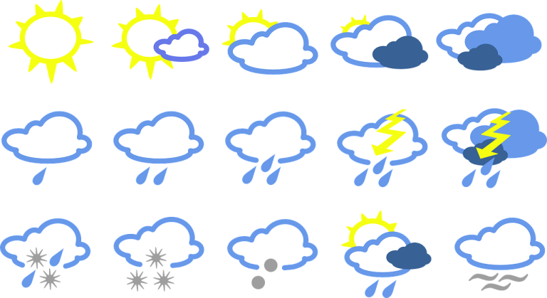 Icons depicting various sorts of weather: sunny, partly cloudy, partly sunny, cloudy, some rain, more rain, thunderstorm, severe thunderstorm, snow-rain mix, snow, hail, chance of showers, fog.