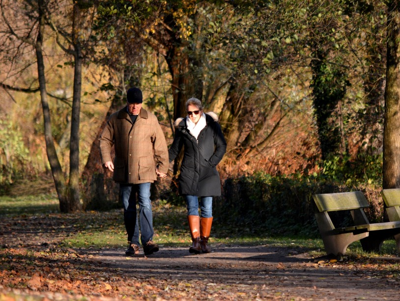 An older couple holding hands walks in a park in the autumn.