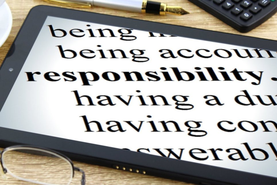 "An iPad screen displaying the word ""responsibility,"" as in a dictionary. Parts of a definition surround the word as follows: being. being accoun. having a du. having a con. swerabl"
