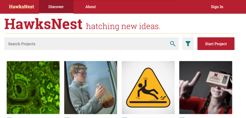 HawksNest screenshot. Text: HawksNest. Tabs - Discover, About. Sign In. HawksNest hatching new ideas. Search Projects. Start Project. Images for 4 projects are shown.