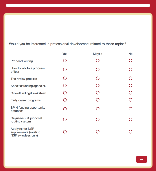 Screenshot of Qualtrics survey about OARS professional development opportunities. Text: Would you be interested in professional development related to these topics? (Yes/Maybe/No options provided for the following) Proposal writing. How to talk to a program officer. The review process. Specific funding agencies. Crowdfunding/HawksNest. Early career programs. SPIN funding opportunity database. Cayuse/eSPA proposal routing system. Applying for NSF supplements (existing NSF awardees only)