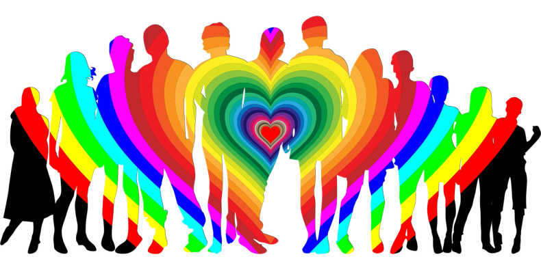 Hearts of different colors are layered on top of each other to form a sort of rainbow. The rainbow is superimposed over silhouettes of various people.