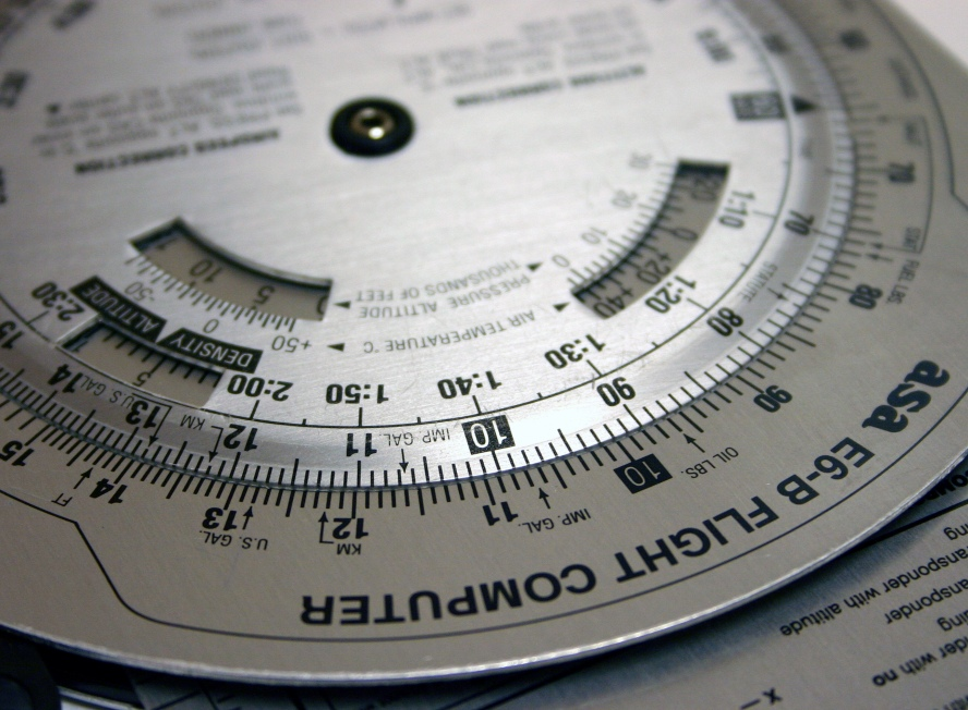 A slide rule used to calculate flight paths.