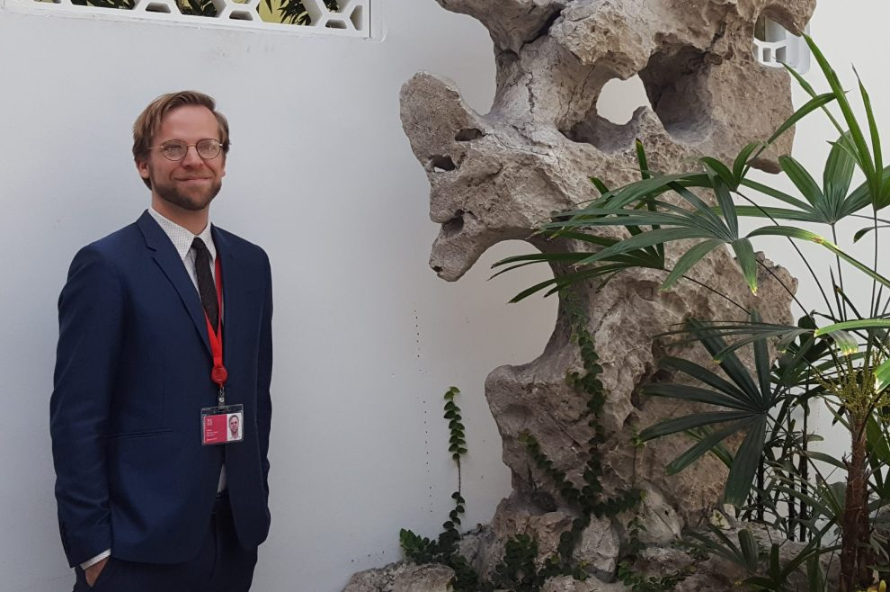 Miami University assistant professor Michael Hatch in the Astor Court at the Metropolitan Museum of Art in New York City.