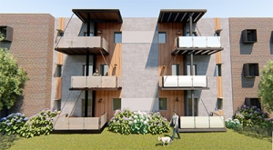 """Rendering of Team EcoEdge's """"Freedom's Path to Zero"""" project submission. A three story, multi-unit building has covered balconies and shaded windows. Landscaping surrounds the base of the building and a person walks a dog on the lawn."""