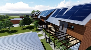 Rendering of Team Optimize's project submission. A series of attached homes features solar panels on the roofs. Pergolas shade outdoor living spaces. Two people walk on a paved path that runs alongside the buildings.
