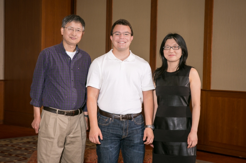 Group photo of Miami University's I-Corps@Ohio team: Xiao-Wen Cheng, Michael Nau, and Hui Shang.