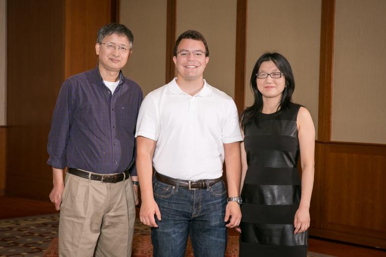 Group photo of Miami University's I-Corps@Ohio team: Xiao-Wen Cheng, Michael Nau, and Hui Shang.